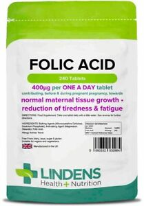 FOLIC Acid 400mcg Tablets (240) Maternal, Tiredness, Fatigue Pregnancy Lindens