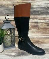 New Tommy Hilfiger Knee High Black Faux Leather Fashion Boots Size 7.5 M