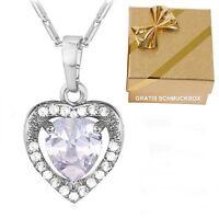 Deluxe Herz-Anhänger Weißgold ❤️ Herzkette Damen-Kette Halskette Geschenk Frauen