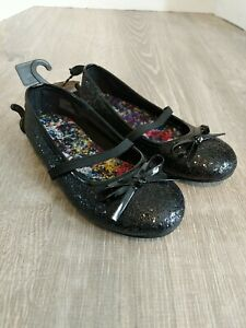 Faded Glory Black Glittery Ballet Flats Toddler Size 11 With Bow And Strap