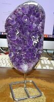 LG POLISHED AMETHYST CRYSTAL CLUSTER  CATHEDRAL GEODE FROM BRAZIL W/ STEEL STAND