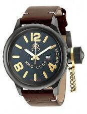 New Mens Invicta 18766 Russian Diver Swiss Automatic Brown Leather LE Watch