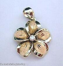 20mm Hawaiian 2-Tone Solid 14k White Rose Gold DC Plumeria CZ Flower Pendant #1