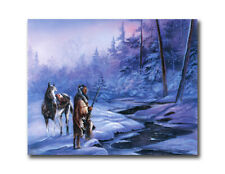 Indian Shadow Of Forest Horse Snow Wall Picture Art Print