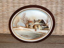 Winter Landschaft Weihnachten ...: Porzellan Bild -Platte oval Handmalerei sign.