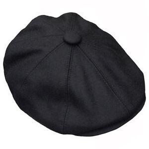 Peaky Blinders Newsboy Flat Cap Herringbone Tweed Wool Baker Boy Gatsby Black
