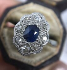 Antique 18ct Yellow Gold Platinum Sapphire And Diamond Large Cluster Ring
