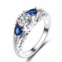 Echt 925 Silber Ring Saphir Edelstein Hochzeit Damen edlen Schmuck Geschenk Neu.
