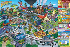 THE SIMPSONS LOCATIONS MAP 91,5 X 61CM POSTER NEU ORIGINALE TRIKOTS