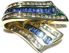 "1.00CT BLUE SAPPHIRE .75CT DIAMOND 14K YELLOW GOLD RIBBON PENDANT SLIDE 1""+"