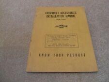 1951 Chevrolet Accessories Installation Manual Car Truck