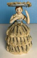 "Antique Porcelain and Lace Woman Female Figurine 4.25"" Dresden Style Unmarked"