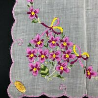 NOS Vintage Handkerchief Ladies Hanky Embroidered PINK Pansy Flower Switzerland