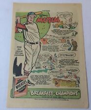 1949 Wheaties STAN MUSIAL cartoon ad page ~ St Louis Cardinals