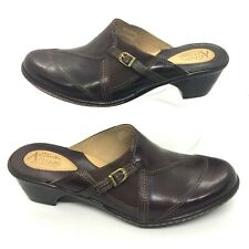 "CLARKS ARTISAN Size 9 M Brown Leather Slip On Mules Clogs 2 1/4"" Heel slip on"