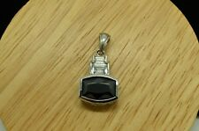 925 STERLING SILVER FACETED OBSIDIAN PENDANT CHARM W/ CZ ACCENTS #A4647