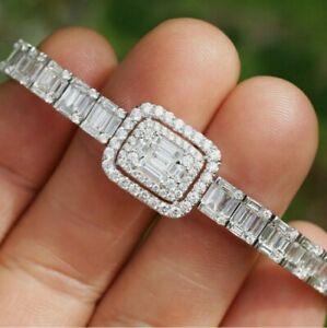 Contemporary 8 carat Baguette Diamond Tennis Bracelet 18K White Gold