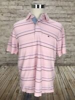 Tommy Hilfiger Men's Large Striped Pink Polo 100% Cotton Shirt