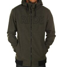 RIDE SNOWBOARDS Men's PIKE Bonded Poly Fleece Hoodie - Black/Olive - XL - NWT