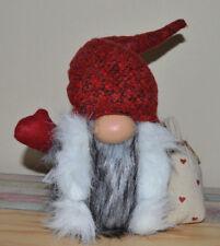 ☼ Formano Wichtel aus Textil grau-rot-weiss ca.38cm hoch Weihnachtsmann 519719 a