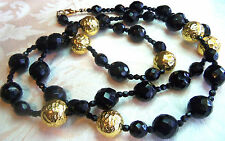 VINTAGE GOLDPLATED & BLACK CRYSTAL OPERA  NECKLACE ESTATE JEWELRY
