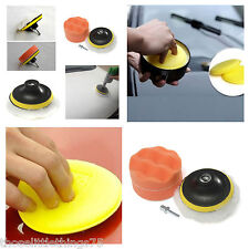 "4pcs 4"" car polishing buffer pad set + drill adapter & 4 car waxing pads"