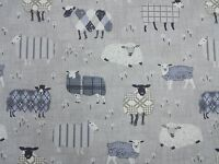 iLiv Baa Baa Sheep Charcoal Curtain Craft Upholstery Designer Fabric