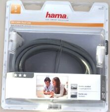Hama DVI Kabel Dual Link mit Ferritkern 5m grau doppelt geschirmt weiße Stecker