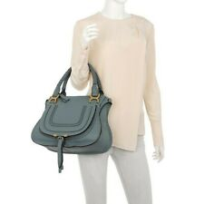 Chloe Medium Marcie Satchel Bag Strap Leather Cloudy Blue NEW WITH TAGS/DUSTBAG!