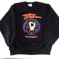 Vintage 1992 TAZ Black Crewneck Sweatshirt Men's Warner Bros USA Large