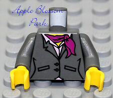 NEW Lego Female Minifig GRAY BUSINESS SUIT TORSO - Girl w/Pink Scarf White Shirt