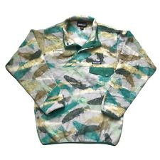 Patagonia Mens Vintage Fish Pattern Snap T Pullover Fleece Jacket Green - XXS