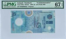 "Northern Ireland 5 £ P203a 1999 PMG 67 EPQ s/n MM0009481 ""Commemorative"" Polymer"