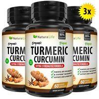 180 EXTRA STRENGTH TURMERIC BIOPERINE CAPSULES 95% CURCUMIN BLACK PEPPER TUMERIC