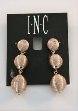 INC rose gold tone thread wrapped triple ball drop earrings New