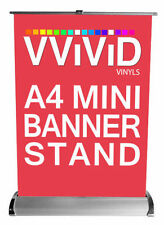 "A4 Desk Top Retractable Banner Stand 8"" x 12"" Roll Up Trade Show Signage Display"