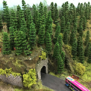 80pcs Railway Layout Model Train 1:75 Green Trees HO OO Scale 90mm TC90