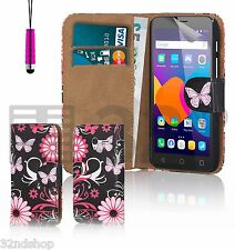 32nd Design Book PU Leather Case Cover For Alcatel Phones + Screen Protector