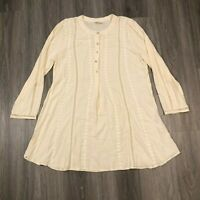 Perch by Blu Pepper Womens 1XL Ivory 1/2 Button Tunic Top Blouse Rayon