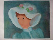 Lithographie signée Pophillat - La petite fille - 76 x 54 cm
