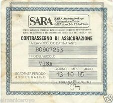 CONTRASSEGNO CERTIFICATO ASSICURAZIONE SARA ASSICURAZIONI 1985