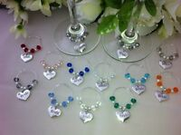 2 X Bride and Groom Top Table Wedding heart wine glass charms gifts decorations