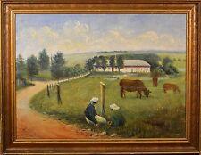 Beautiful Antique Danish Oil Painting, Pastoral Landscape w/ Cows & Girls, NICE