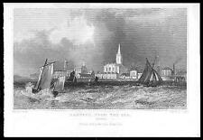 1835 ESSEX Original Antique engraving View of HARWICH FROM THE SEA  (69)