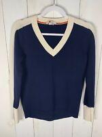 Boden Womens Blue/Ivory Size XS Long Sleeve V-Neck Wool Blend Sweater