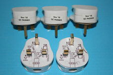 10 x Standard UK Fused 13A 13 Amp White Mains 3 Pin Houshold Plug Tops