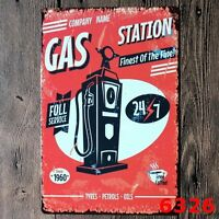 Metal Tin Sign gas station  Decor Bar Pub Home Vintage Retro Poster Cafe ART