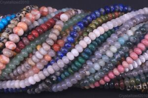 """Natural Gemstones Rondelle Spacer Loose Beads 4mm x 6mm 5mm x 8mm Stone 15.5"""""""