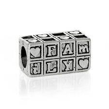 Family and Friends Word Spacer Bead for Silver European Style Charm Bracelets