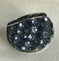 Park Lane Sapphire Ring Size 9 SilverTone Hombre Blue Accents Dome Statement Euc